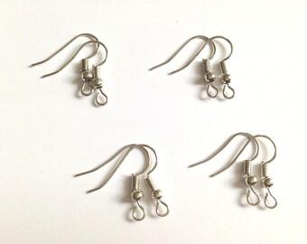 Set of 8 Silver earrings - hook brackets.