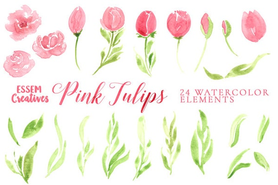 Watercolor pink flowers clipart floral watercolour wreath tulip this is a digital file mightylinksfo