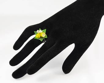 Lemon Ring - Floral ring - Polymer clay jewelry  - Handmade ring with lemon - Ring with lemons
