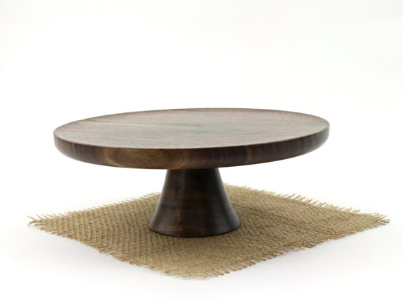 "Wooden 9"" Walnut Cake Stand  / Pedestal Cake Plate /Cupcake Stand"