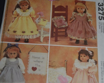 McCalls 3275 18 inch Doll Clothes and Craft Projects -  American Girl - UNCUT