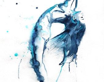 Original Watercolor Painting. Dancing ballerina. Ballet wall art.