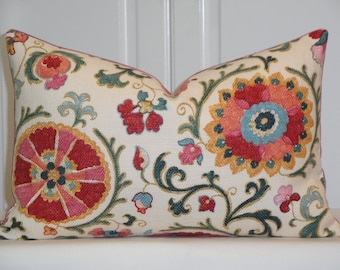 Decorative Pillow Cover - Suzani - Throw Pillow - Accent Pillow - JEWEL - Pink - Red - Blue - Green - Coral