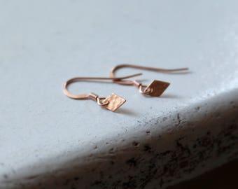 Dainty Rose Gold Earrings Tiny dangle earrings tiny drop earrings delicate jewelry rose gold filled jewelry rose gold diamond earrings