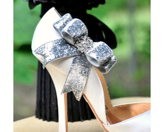 Sparkly Silver / Gold Bow Shoe Clips. Edgy Wedding 2015. Night Out Bridal Bride, Rhinestone Crystal Glitter Glittery Ribbon, Spring Fashion