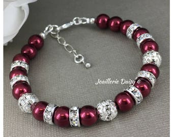Burgundy Jewelry Pearl Bracelet Burgundy Bracelet Pearl Jewelry Set Bridesmaid Gift for Her Maid of Honor Gift Christmas Jewlery Idea