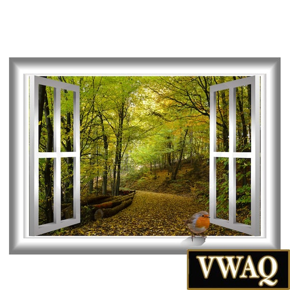 3d vogel gr nen b umen weg natur fenster rahmen 3d pop wand. Black Bedroom Furniture Sets. Home Design Ideas