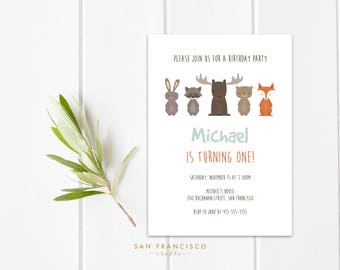 Woodland Birthday Invitation INSTANT DOWNLOAD |  Printable Editable Template | moose, fox, first birthday | Woodland Collection | PDF File