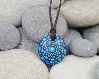 Painted Necklace - Paint Rock - Mandala Rock - Blue Dot Jewelry - Mandala Art - Hand-Painted Pendant Stone - Chakra