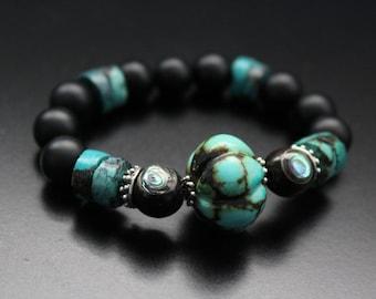 Genuine turquoise melon bead bracelet, matte onyx and abalone inlay boho stretch bracelet, gemstone tribal stackable bracelet, gift for her