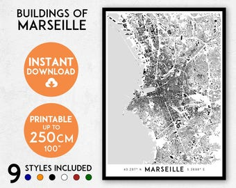 Marseille map print, Printable Marseille city map art, Marseille print, France map, Marseille art, Marseille poster, Marseille wall art