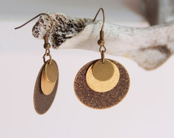 Circles, brass and Brown earrings