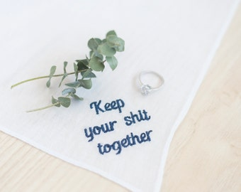 keep your shit together wedding handkerchief for mom, mother in law gift, something blue for bride gift from bridesmaid, stepmother of the