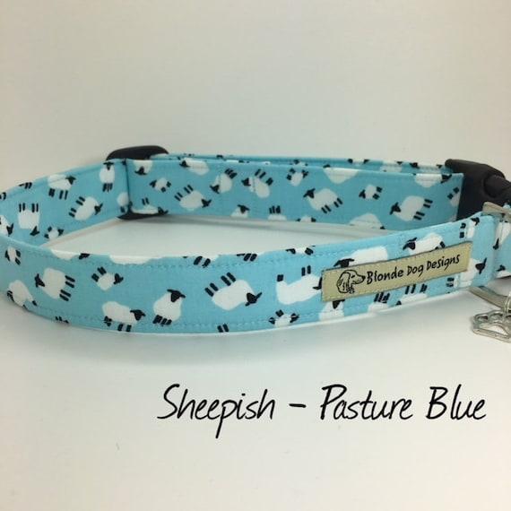 Cute Dog Collar, or, Cute Dog Lead, Sheepish Pasture Blue, Blue Dog Collar, Blue Dog Lead, Luxury Dog Collar, Luxury Dog Lead.