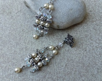 Romantic Pearl & Rainbow AB Swarovski Crystal Post Earrings with Antiqued Silver Floral Accents for Wedding Bride Bridal Jewelry Jewellery