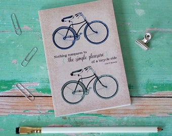 Vintage Bicycle Notebook Pocket Journal Eco Friendly Bicycle Quote Print Bike Lover Cyclist Gift Stocking Filler FREE UK P&P