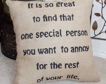 Wedding Gift Pillow, Wedding Pillow, Bridal Shower Gift, Bridal Gift, Burlap Pillow, Funny Wedding Gift, Bridal Pillows, Wedding Gift