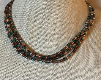 Copper and Turquoise Multistrand Necklace