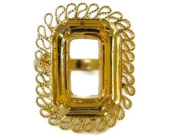 2 pcs Ornate Ring Blanks Size 7  Ring Vintage Gold Filagree Casting R-2