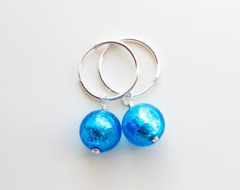 Nautical Murano Glass Hoop Earrings, Sterling Silver and Aquamarine Murano Glass Beads, Ready to Ship