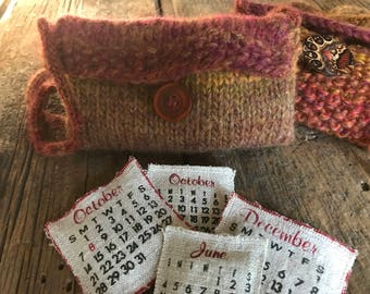 """Hand Knit by Ora, Worsted Weight Acrylic/Wool Blend, Bohemian """"Ruby"""" in Color, Cross Body Purse/Bag"""