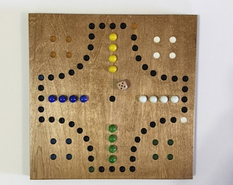 """11"""", Aggravation, Game Board, Wood, Game Boards, Wooden, Glass Marbles, Marbles, Board Game, 4 Player"""