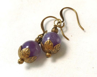 Amethyst Gemstone Earrings With Antiqued Brass, Bronze Accents