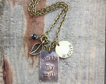 awake my soul -inspire - mixed metal necklace design with leaf charm in antique golds