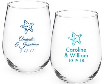 24 pcs - Starfish Personalized 9oz Stemless Wine Glass - Party Favors -JM218773-9OZ