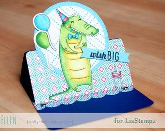 Digital stamp -Birthday Crocodile stamp.  digi stamp. Birthday digi stamp. manly digital stamp.Fathers birthday digital stamp. LiaStampz