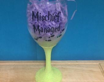 Mischief Managed Wine Glass