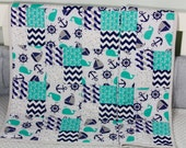 Baby Quilt, Handmade Baby Quilt, Nautical Theme Baby Quilt, Modern Baby Quilt, Baby Gift, Newborn Gift, Baby Shower Gift, Holiday Baby Gift