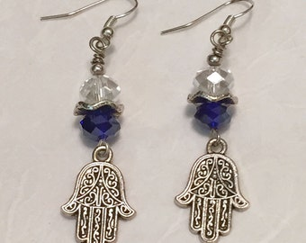 Cobalt Crystal Hamsa Earrings / Crystal Earrings / Hamsa Earrings / Women's Gift Ideas / Judaica / Bat Mitzvah / Jewelry / Earring / Crystal