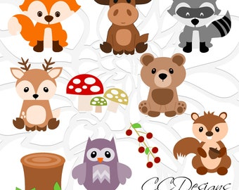 Woodland Animal SVG Set, Cute Baby Forest Animals Clip Art, Fox SVG Cut File, Moose Cut File, Deer Svg, Woodland Nursery, Baby Shower