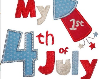 1st 4th of July Shirt - Embroidered Shirt - Baby's 1st 4th of July - Boys 4th of July shirt - Girls 4th of July Shirt - Embroidered Shirt