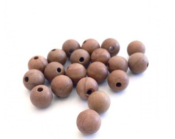 X 50 wood lace ❤ ❤ 6mm stone beads