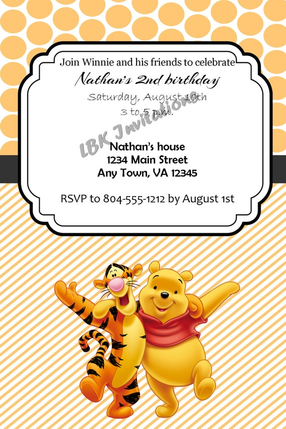 Items Similar To Custom Bear And Tiger Inspired Birthday Invitation