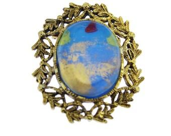 Blue Art Glass Brooch, Blue and Gold Brooch, Blue Glass Brooch, Large Gold Brooch