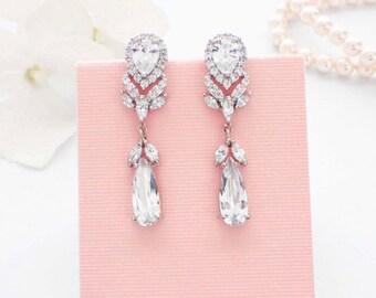 Crystal drop earrings, CZ drop earrings, bridal jewelry, crystal wedding earrings, bridesmaid earrings, wedding jewelry, cubic zirconia