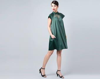 Green Dress with Pockets, Cut Out Dress, Green Collar Dress, Elegant Green Dress, Emerald Dress Party Dress, Casual Dress, Green Womens wear