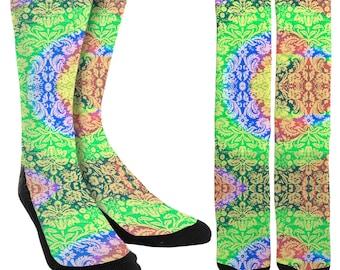 Psychedelic Hippie Crew Socks - EDM Clothing - EDM Socks - Rave Socks - Trippy Socks - Novelty Socks - Crazy Socks - FREE Shipping D90