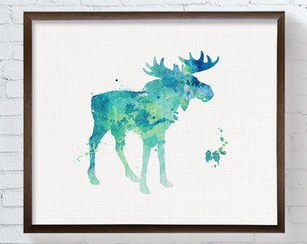 Watercolor Moose Print, Moose Print, Moose Painting, Moose Poster, Woodland, Forest Animals, Nursery Wall Art, Watercolor Animal, Home Decor