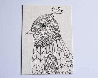 Original ACEO ATC: Black and White Bird Drawing