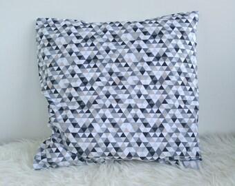 Housse de coussin coton imprimé gris beige blanc 40x40 cm