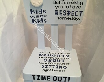 Personalized Time Out Chair - Naughty Chair (word options in description or request your own)