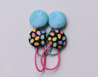 Easter Ponytail Holders. Bunny Hair Accessories.  Easter Egg Hairbands. Girls Accessories. Blue Bunnies. Ponytail Wrist. Hairbun Accessories