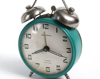 Vintage Alarm Clock Jantar, made by Soviets. USSR made authentic alarm clock, mechanical clock, rustic home decor