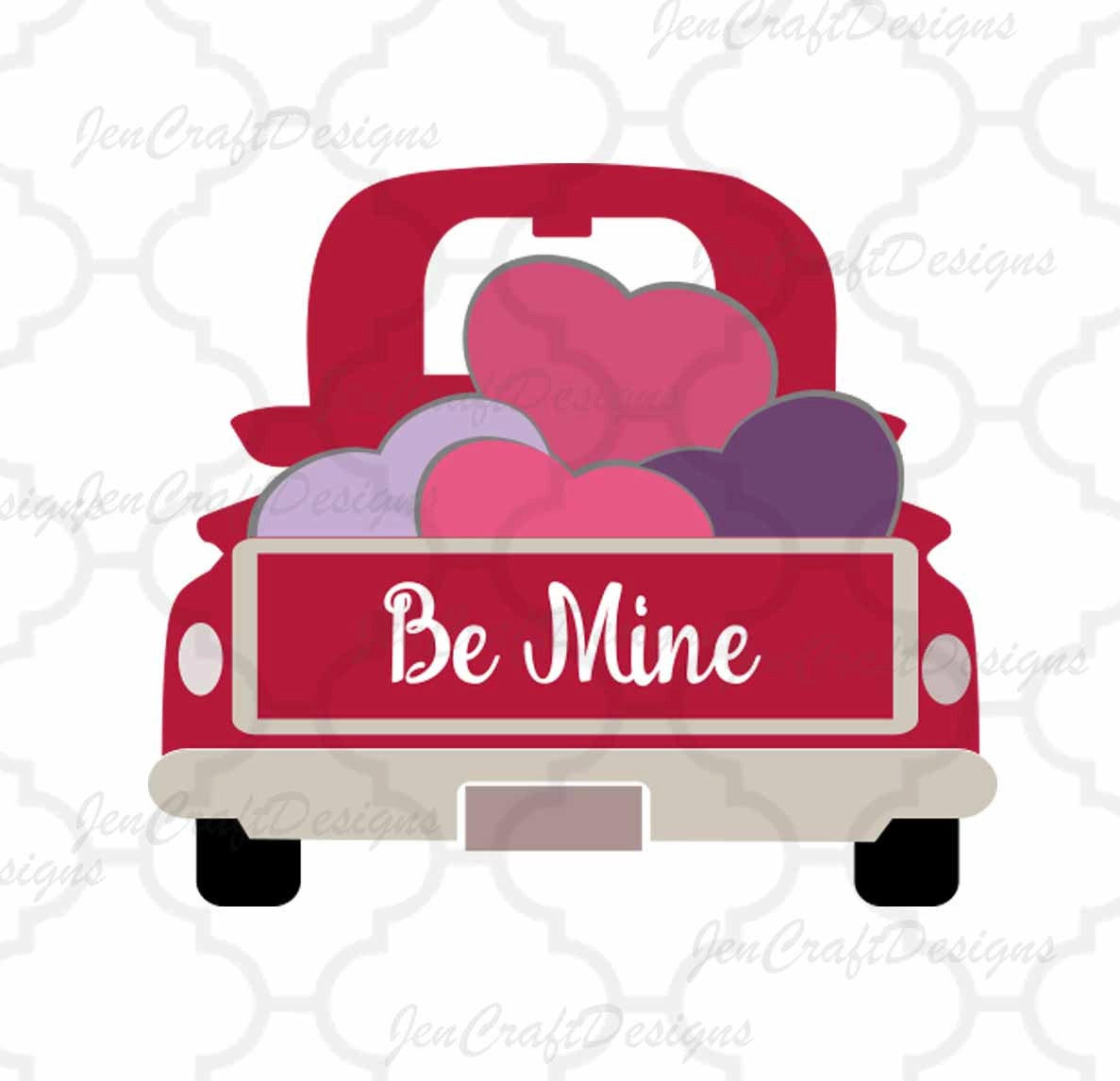 Valentine Heart Truck SVG Antique Vintage Svg Classic DXF Eps Png Cut File For Silhouette Cricut