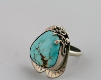 Turquoise Sterling Silver Ring, Size 8 3/4 Ring, Organic Ring, December Birthstone, Natural Turquoise, Blue Turquoise,Gift for Her,Statement
