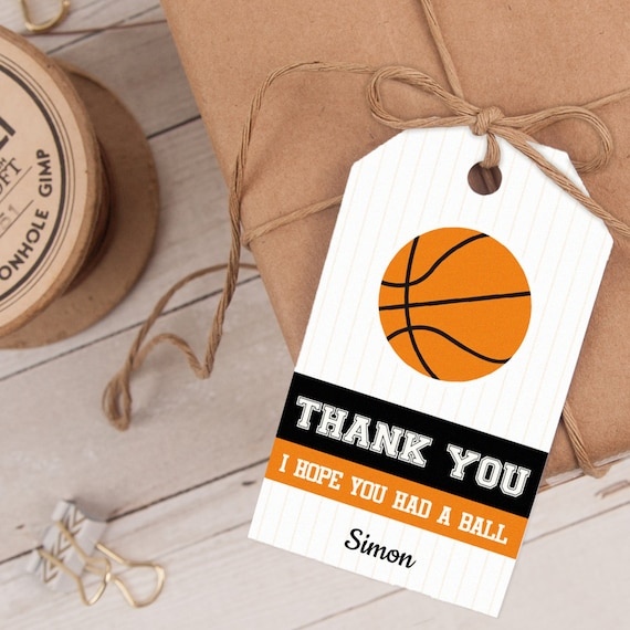 Basketball Favor Tag, Basketball Thank You Tag, Basketball Party Favor, INSTANT DOWNLOAD you personalize at home